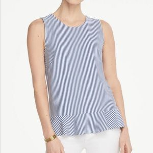 Ann Taylor Sleeveless Blue Stripe Peplum Top M